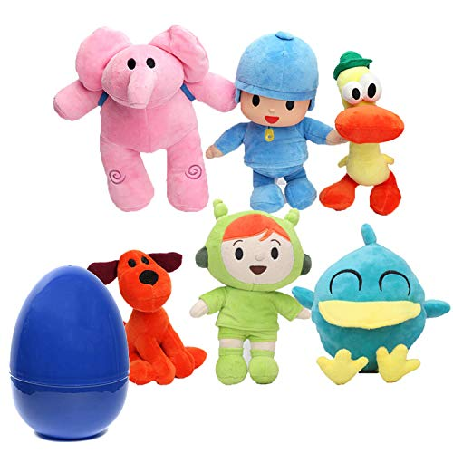 Coolinko 6 Pocoyo Plush Figures with Jumbo Egg Storage Toys for Kids Gifts & Party Favor Decoration