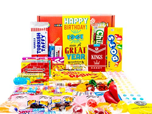 Woodstock Candy ~ 1961 60th Birthday Gift Box Nostalgic Candy Mix from Childhood for 60 Year Old Woman or Man Born 1961 Jr