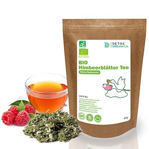 Himbeerblättertee Bio - 100% naturbelassen - in Deutschand hergestellt // Himbeerblätter Tee während Schwangerschaft mit Hebamme abstimmen // Raspberry Leaf Tea // Premium Qualität von Detox Organica