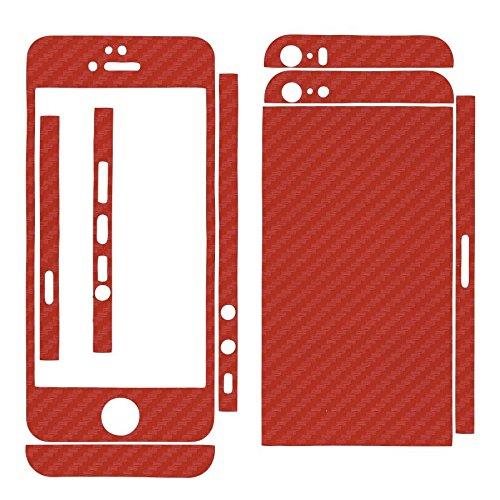 Adesivo, skin 3D finitura in carbonio, per Apple iPhone 5 e 5S rosso