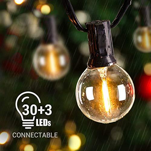 Avoalre Catena Luminosa Esterno LED G40 10M Bulbi 30+3 Catena Lampadina da Giardino Illuminazione Casa interni per Esterno Interno Luci Natale Festa IP65 Impermeabile per Cortile Mercato Cafe