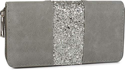 styleBREAKER Geldbörse mit umlaufendem Pailletten Streifen, Reißverschluss, Portemonnaie, Damen 02040056, Farbe:Grau-Silber
