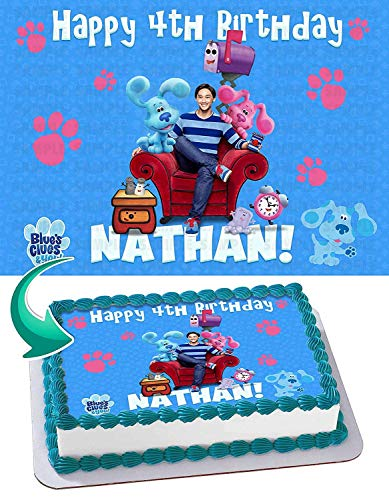 Groovy Blues Clues Edible Image Cake Topper Party Personalized 1 4 Sheet Personalised Birthday Cards Fashionlily Jamesorg
