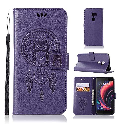 JARNING Kompatibel mit HTC One X10 Leder Schutzhülle PU Leder Wallet Flip Hülle Tasche Lederhülle mit Kartenfach für HTC One X10 (Lila)