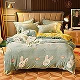 Juego de ropa de cama con funda de edredón-Snow fleece engrosamiento estudiante vellón dormitorio cama individual...