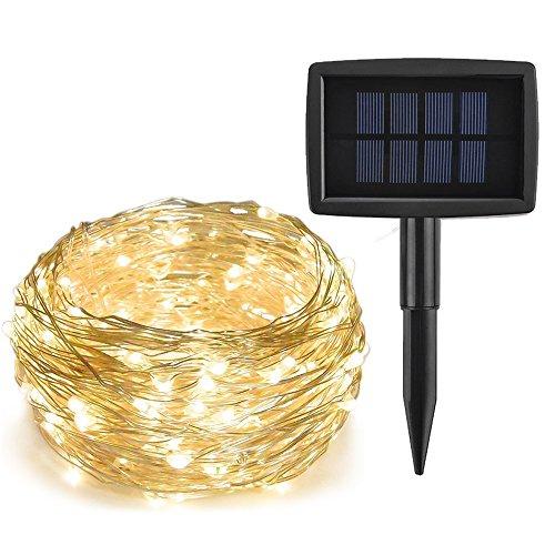 ieGeek LEDイルミネーションライト ソーラー充電式 光センサー内蔵 発光モードは8パターン 屋外用 防水IP64 フェアリーライト ガーデンライト高輝度 高品質 祝日やクリスマスや結婚式やパーティーやイベントなどに最適! (200球, ウォームホワイト)