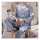 Hombres Satin Pijama Set - Conjunto De Pijama De 2 Piezas con Botones Manga Larga Y Pantalones Ropa De Dormir con Bolsillo - Chaqueta Casual con Estampado De Plumas Ropa De Dormir Ropa De Ca