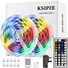 LED Strip Lights, Ksipze 10m RGB LED Light Strip with Remote Colour Changing SMD 5050 LED Room Lights for TV Kitchen Home Party Christmas Decoration, Bright LEDs, Strong Adhesive (5Mx2) (10M)