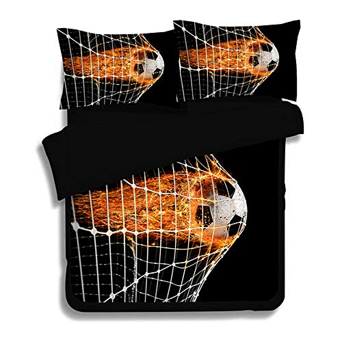 Sticker Superb Bettwaren Collection Basketball/Football Bettdecken-Sets, Multicoloured 3-teiliges Set (Football, 140X200 cm)
