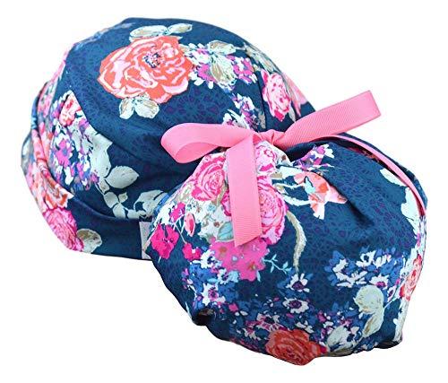 Womens Perfect Fit Ponytail Surgical Scrub Hat Cap - Tea Garden