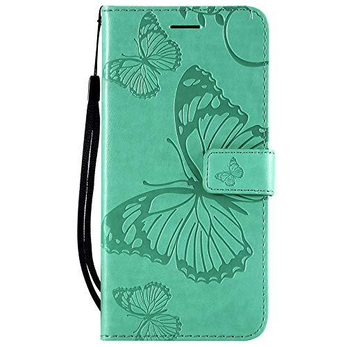Dclbo Hülle für LG K61, Ledertasche Handyhülle Schutzhülle PU Leder Hülle Flip Case Cover Tasche Magnetverschluss Kartenfach Handytasche Etui Klapphülle für LG K61-Grün