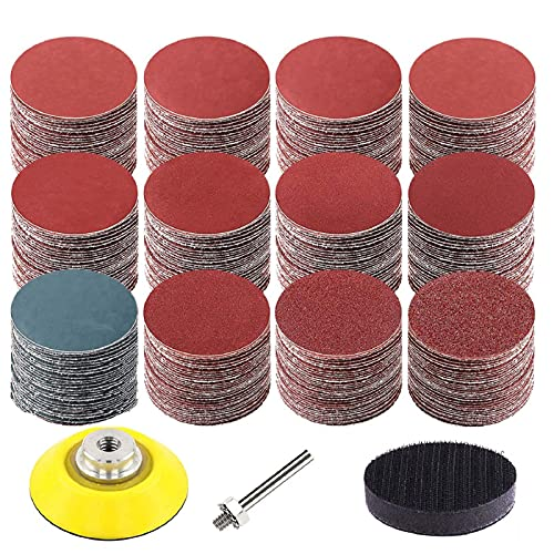 240 Pcs 2 inch Sanding Discs Pad Kit, Hook and Loop Sandpaper Discs with 1 pc 1/4 Inch Shank Backing Pad and Soft Foam Buffering Pad (60-3000 Grit) by COLOGO