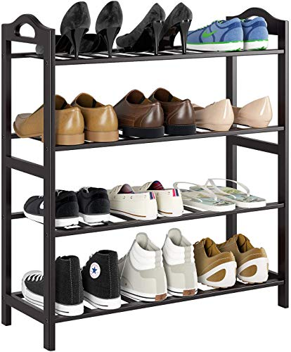 HOMFA Bamboo Shoe Rack 4-Tier Entryway Shoe Shelf Storage...