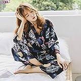 Handaxian Traje de Pijama Mujer Elegante Servicio a Domicilio Ropa para Dormir Pijama Femenina Otoño Grúa Animal Print PH-01 M