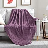 Walensee Throw Blanket for Couch (50' x 60', Deep Purple) 100% Acrylic Knit Woven Blanket, Lightweight Decorative Soft Blanket with Tassels for Chair, Bed, Sofa, Travel, Suitable for All Seasons