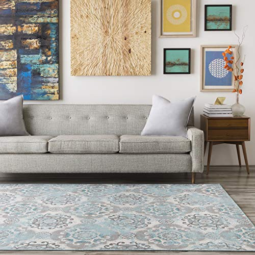 Liana Teal, Taupe and Beige Transitional Area Rug 7