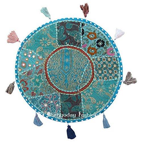 Crafts Creation Housse de coussin de sol ronde - 81,2 cm - Style bohème indien traditionnel - Patchwork - Coussin de sol ottomane de méditation - Décoration d'intérieur brodée vintage - Coton