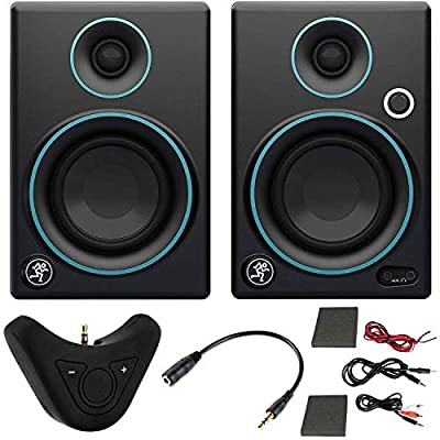 """Mackie CR Series CR3-3"""" Creative Reference Multimedia Monitors (Pair) + Includes Bluetooth 2-in-1 Wireless Audio Receiver (Blue) by Mackie"""