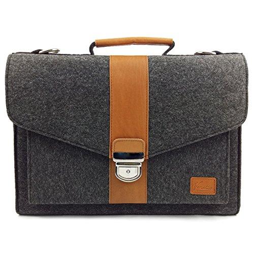 Venetto Businesstasche Umhängetasche Aktentasche Arbeitstasche Handtasche Herren Damen Unisex Filztasche Tasche aus Filz mit Schultergurt mit Echtleder-Applikationen (Schwarz meliert)