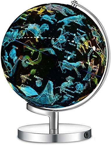 Generic Brands Illuminated World Globe with Metal Base - Night View Stars Constellation Pattern Globe with Detailed World Map,Built-In LED Bulb, Educational Gift
