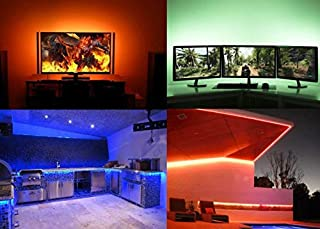 LED TV Strip lights UL-Certified. 16.4Ft, Waterproof IP65, Multi Color Remote Control, with 3 L-Connectors, LED Color changing kit. LED Strips for TV, Mood lighting,Christmas Decoration Indoor Outdoor
