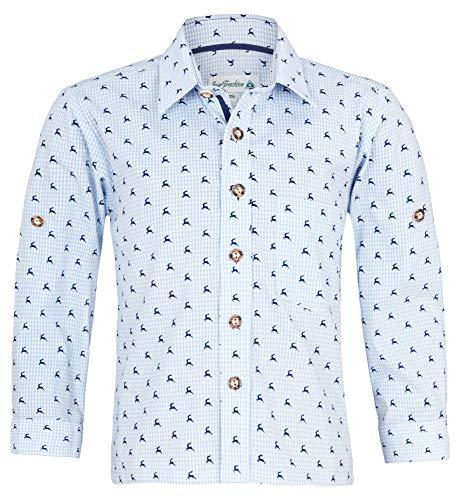 Isar-Trachten Kinder Trachtenhemd Malte mit Hirschen 52913 - Hellblau Gr. 104