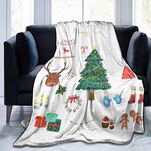 Niet geschikt deken gooien Vrolijk Kerstmis afbeeldingen werpen deken super zachte luxe decoratieve bank microvezel fleece deken plafond winterbed bank auto fleece gezellig thuis