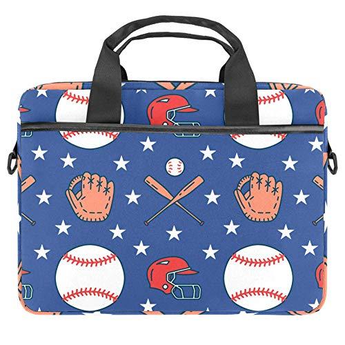 Baseball-Softball-Sportspiel-Muster, Laptop-Hülle, Canvas-Muster, Aktentasche, Laptop-Schultertasche, Kuriertasche, Hülle für 13,3-14,5 Zoll Apple MacBook Laptop Aktentasche