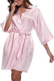 VOGMATE Short Robe for Women Bridesmaid Bride Silk Kimono Robe Dressing Gown for Wedding Party