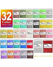 Mica-poeder 32 kleuren (5g / 0,17 oz, totaal 160 g / 5,44 oz), JEMESI Natuurlijke Pigmenten Glitter Epoxyharsverf Voor Zeep Maken, Badbom, Kaars, Cosmetische Oogschaduw, Make-up, Nagellak, Verf