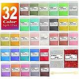 JEMESI Epoxidharz Farbe, Mica Pulver Glitter Seifenfarbe Set Pigment 32 Farben (5g, insgesamt 160g)...