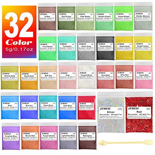JEMESI Epoxidharz Farbe, Mica Pulver Glitter Seifenfarbe Set Pigment 32 Farben (5g, insgesamt 160g) für Kunstharz Gießharz, Seife, Badebombe, Kerze, kosmetischer, Lidschatten, Nagellack, Schleim