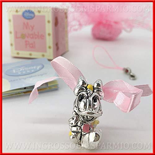 Ingrosso e Risparmio Schön und Einsparung von Disneys in Form eines Entenes aus versilbertem Kunstharz mit rosa Schleife und Schlüsselanhänger, Gastgeschenke für Mädchen, inklusive Geschenkbox