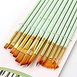 Set De Pinceles En forma de abanico acuarela Conjunto de lápiz azul mate varilla 12 Conjunto de paquetes de nylon cepillo de pelo Para La Pintura De Bellas Artes ( Color : Green , Size : Free size )