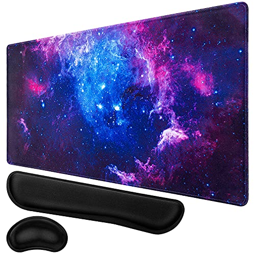 Gaming Mouse Pad, Canjoy XXL Large Extended Mouse Pad, Keyboard Wrist Rest and Mouse Wrist Support Pad with Non-Slip Rubber Base for Gaming Office Home