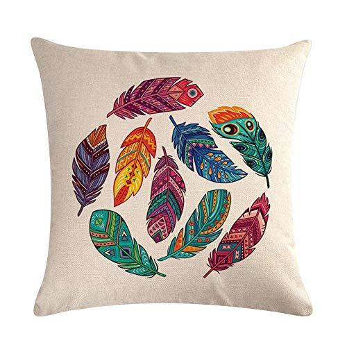 Z&HA Dream Catcher Throw Pillow Fundas 18 X 18 Pulgadas Plumas De Colores Fundas De Almohada Decorativas Fundas De Cojin Cuadradas para Sofa Sofa Coche Dormitorio Decoracion para El Hogar,2