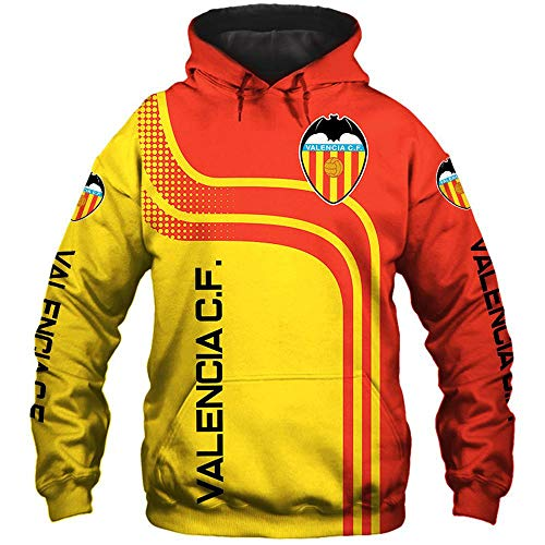 LIULL Chaqueta para Hombre con Capucha Suéter Valencia C.F Fútbol Uniforme De Béisbol 3D Impresión Digital Deportes Sudadera A-XXXL