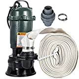 VEVOR Bomba Sumergible, Caudal Máximo 200 L/min, Bomba de Aguas Residuales de Alta Presión con 12 m de Manguera de Elevación, Bomba de Agua con 8 m de Cable para Acuarios, Pozos, Piscinas y Fuentes