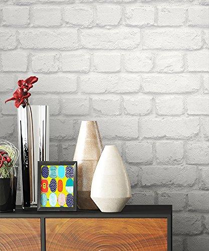 NEWROOM Steintapete Tapete Weiß Mauer Stein Modern Papiertapete grau Papier moderne Design 3D Optik Steintapete Ziegelstein Backstein Mauerwerk Klinker Loft inkl. Tapezier Ratgeber