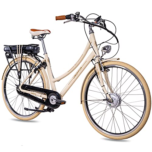 CHRISSON 28 Zoll E-Bike City Bike für Damen - EH1 beige mit 7 Gang Shimano Nexus Nabenschaltung - Pedelec Damen mit Ananda Vorderradmotor 250W, 36V, 40 Nm, Retro Elektrofahrrad Damen