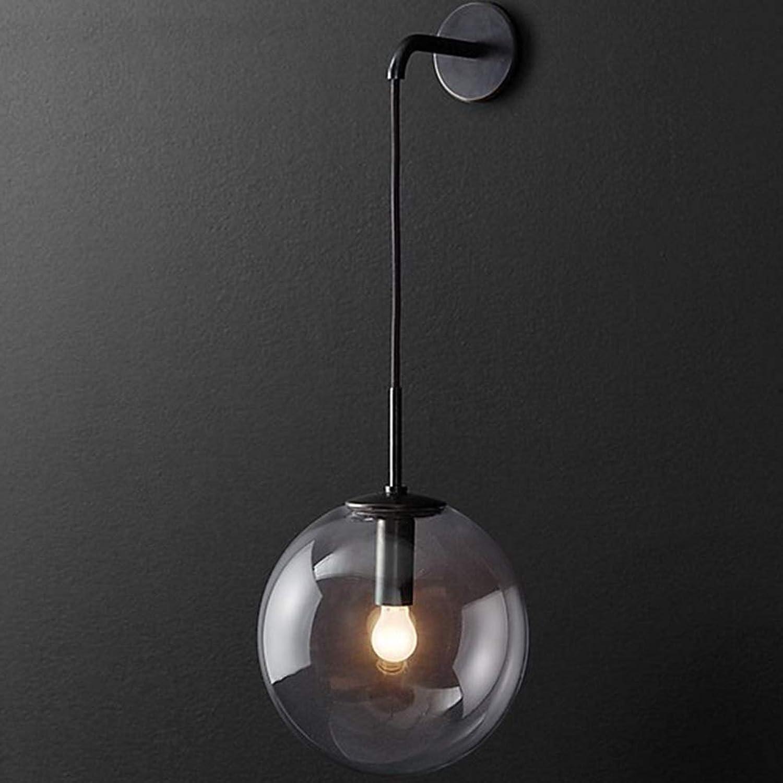 Wandleuchte Beleuchtung Rundes Glas Retro, Wandlampe Einstellbar Schwarz   Gold, Indoor LED Wandbeleuchtung Schlafzimmer Bar, Wohnzimmer Gang Restaurant Dekorative Wandmontage Lampe, Schwarz, Kupfer