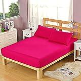 HPPSLT Protector de colchón, algodón, poliéster, Sábana cepillada Color sólido Antideslizante-Pure Red_180 * 200cm