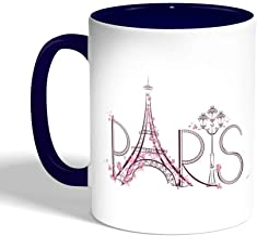 كوب سيراميك للقهوة بطبعة باريس - برج ايفل ، لون ازرق