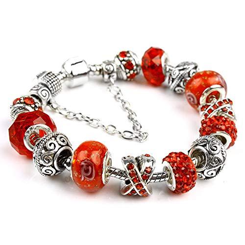 Kristallglasperlenarmband im ethnischen Stil, handgefertigtes, frei zusammenpassendes Perlenarmband, europäisches und amerikanisches Damen-Outfit-Zubehör Langer Silberboden (18 cm) + rote Perlen
