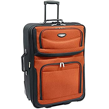 Travel Select Amsterdam Expandable Rolling Upright Luggage Orange Checked-Large 29-Inch