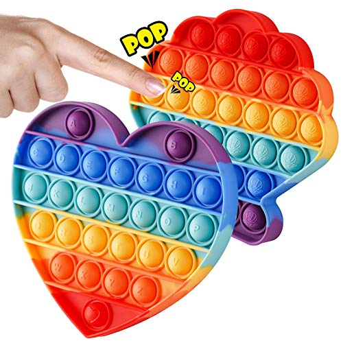 NiHealth 2-Pack Push Pop Bubble Fidget Sensory Toy, Fidget Toys for Stress Anxiety Relief Bubble Popper Fidget Toy, Silicone Squeeze Toy for Kids Adults (Rainbow Shell+Heart)
