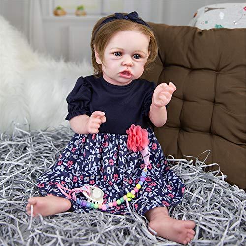 HWZZ 58 cm Ganzkörper Silikon Reborn Baby Doll Toy Realistische 23 Zoll Vinyl Alive Babys Dress Up Prinzessin Kleinkind Mädchen Geburtstagsgeschenk,58cm