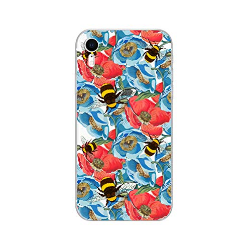 Blingy's iPhone XR Case, New Beautiful Flower Series Transparent Clear Soft TPU Protective Rubber Case Compatible for iPhone XR (Bumblebee Flowers)