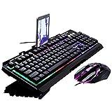 WOHCO Juego de Teclado y Mouse para Juegos, combinación de Teclado con Cable retroiluminado y Mouse para Juegos, Teclado de PC y Mouse dpi Ajustable, para Juegos, Trabajo