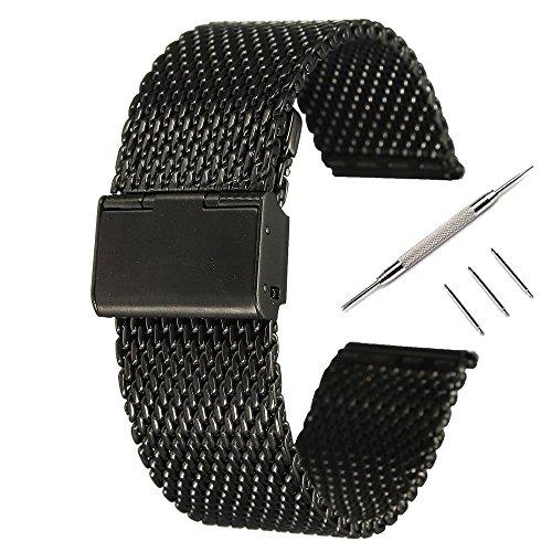 18MMバンドPinhen腕時計 ステンレス メッシュ ベルト ステンレス鋼ミラネーゼ メタル ブレス バンド 16MM 18MM 20MM 22MM 24MM 26MM バネ棒はずし 付属 (18MM Mesh Black)